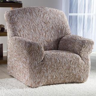 Super streczowe pokrowce 3D FUSTA beżowe, fotel (sz. 70 - 110 cm)