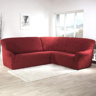 Super streczowe pokrowce 3D FUSTA cegła, kanapa narożnikowa (sz. 340 - 540 cm)