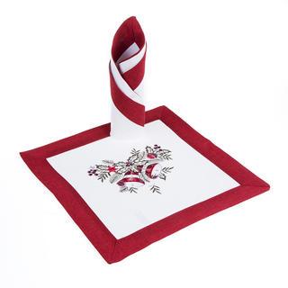 Wigilijne haftowane obrusy czerwone 2 szt