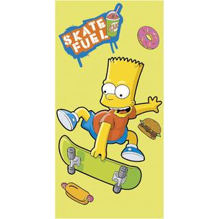Ręcznik kąpielowy dla dzieci Bart Simpson skate żółty