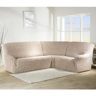 Bi-elastyczne pokrowce INFINITO beżowy, kanapa narożnikowa (sz. 350 - 530 cm)