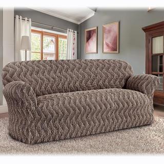 Bi-elastyczne pokrowce INFINITO brązowy, kanapa trzyosobowa (sz. 170 - 220 cm)