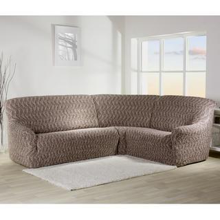 Bi-elastyczne pokrowce INFINITO brązowy, kanapa narożnikowa (sz. 350 - 530 cm)