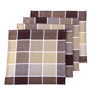Podkładki bawełniane na stół krata brązowo-beżowe 4 szt