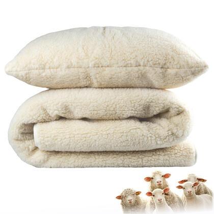 Koc 135 x 200 cm i poduszka 70 x 90 cm z wełny Merino