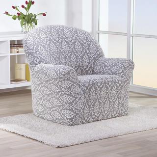 Streczowe pokrowce CASTELO czarno-biały, fotel (sz. 60 - 110 cm)