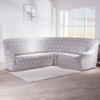 Streczowe pokrowce CASTELO czarno-biały, kanapa narożnikowa (sz. 350 - 530 cm)