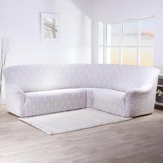 Streczowe pokrowce CASTELO szarobiały, kanapa narożnikowa (sz. 350 - 530 cm)