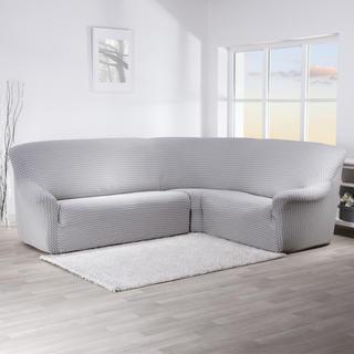 Elastyczne pokrowce CIKCAK czarno-biały kanapa narożnikowa (sz. 350 - 530 cm)