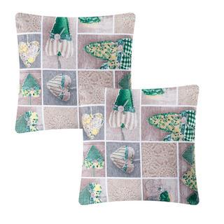 Poszewka na poduszkę patchwork Serce zielona 2 szt.