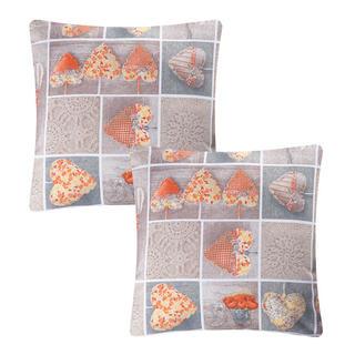 Poszewka na poduszkę patchwork Serce pomarańczowa 2 szt.