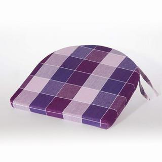 Poduszka na krzesło półokrągła Indie fioletowa kostka 37 x 37 cm