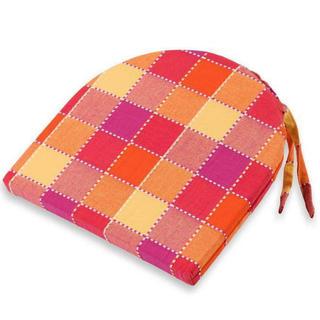 Poduszka na krzesło półokrągła Indie pomarańczowa kostka