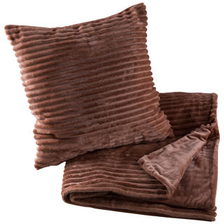 Dwustronny koc z poszewką na poduszkę Ipala orzeszkowy