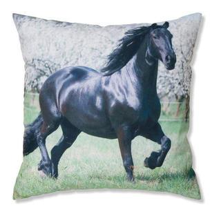 Dekoracyjna poszewka na poduszkę czarny koń