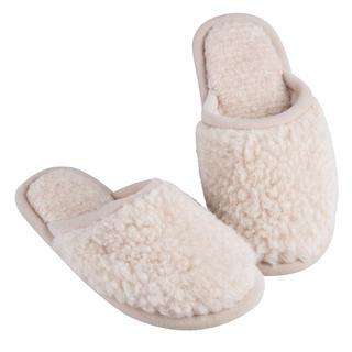 Pantofle domowe z podeszwą antypoślizgową naturalne