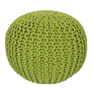 Ręcznie tkana pufa zielona
