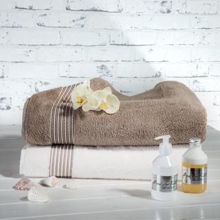 Ręczniki z mikrobawełny śmietankowy i szarobeżowy