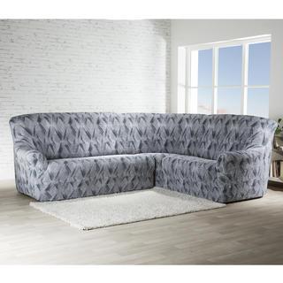 Bi-elastyczne pokrowce ASTRATO szary, kanapa narożnikowa (sz. 350 - 530 cm)