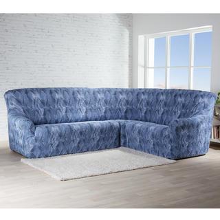 Bi-elastyczne pokrowce ASTRATO niebieski, kanapa narożnikowa (sz. 350 - 530 cm)