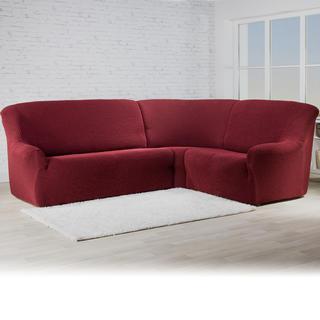 Bi-elastyczne pokrowce ROMA bordó, kanapa narożnikowa (sz. 350 - 530 cm)