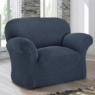Bi-elastyczne pokrowce ROMA niebieski, fotel (sz. 60 - 110 cm)