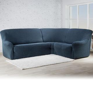 Bi-elastyczne pokrowce ROMA niebieski, kanapa narożnikowa (sz. 350 - 530 cm)