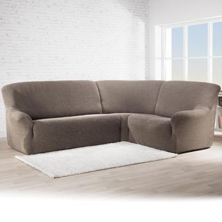 Bi-elastyczne pokrowce ROMA brązowy kanapa narożnikowa (sz. 350 - 530 cm)