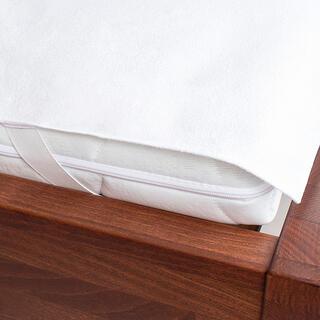Nieprzemakalny frotte ochraniacz na materac biały