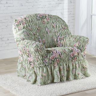 Napinające pokrowce z falbaną FIORELA zielone, fotel (sz. 60 - 110 cm)