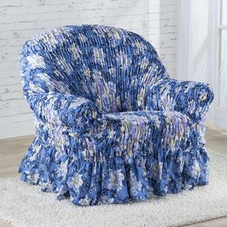 Napinające pokrowce z falbaną FIORELA niebieskie, fotel (sz. 60 - 110 cm)