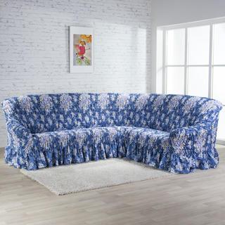 Napinające pokrowce z falbaną FIORELA niebieskie, kanapa narożnikowa (sz. 350 - 530 cm)