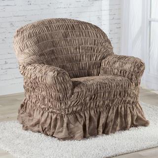 Napinające pokrowce z falbaną FIORELA czekoladowe, fotel (sz. 60 - 110 cm)