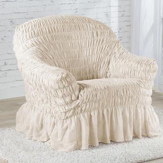 Napinające pokrowce z falbaną FIORELA beżowe fotel (sz. 60 - 110 cm)