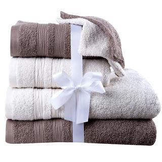Ręczniki bawełniane frotte, ręczniki do kąpieli i gąbki do mycia śmietankowo - brązowe 6 szt.