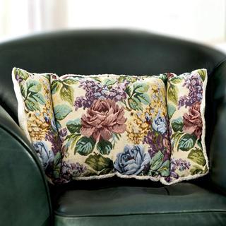 Poduszka pod plecy z haftowanymi kwiaty