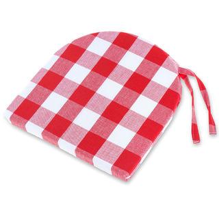 Poduszka na krzesło półokrągła Indie czerwono-biała 37 x 37 cm