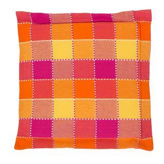 Poduszka na krzesło Indie z ozdobnym wykończeniem kostka pomarańczowa