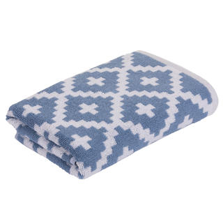 Ręcznik kąpielowy frotte GRAPHICS Rauten niebieski 75 x 150 cm
