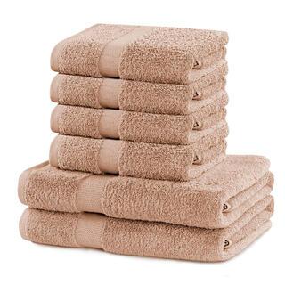 Bawełniane ręczniki frotte i ręczniki kąpielowe MARINA beżowe, zestaw 6 szt.