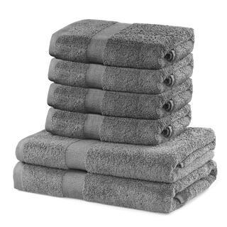 Bawełniane ręczniki frotte i ręczniki kąpielowe MARINA szare, zestaw 6 szt.
