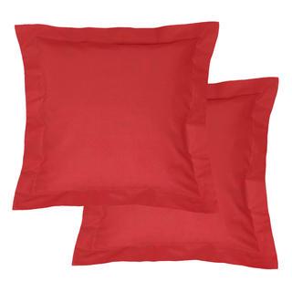 Bawełniane poszewki na poduszki z ramką, czerwone 2 szt.