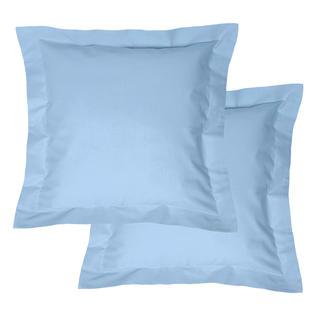 Bawełniane poszewki na poduszki z ramką, jasnoniebieskie 2 szt.