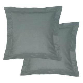 Bawełniane poszewki na poduszki z ramką, ciemnoszare 2 szt.