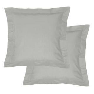 Bawełniane poszewki na poduszki z ramką, jasnoszary 2 szt.