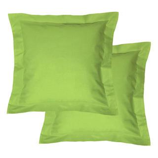 Bawełniane poszewki na poduszki z ramką, zielone 2 szt.