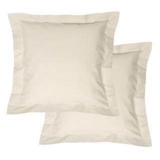 Bawełniane poszewki na poduszki z ramką, kremowe 2 szt.