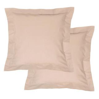 Bawełniane poszewki na poduszki z ramką, beżowe 2 szt.