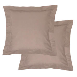 Bawełniane poszewki na poduszki z ramką, brązowe 2 szt.