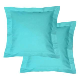 Bawełniane poszewki na poduszki z ramką, turkusowe 2 szt.